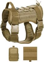 Exército táticos cão Coletes Define Cothes cão Com 2 Molle Pouch Harness ajustável Formação Hunting Vest Harness
