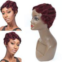 قصيرة إصبع موجة مجعد الباروكات للنساء السود شعر الإنسان الأم الأمريكية الأفريقية الأمريكية بورجوندي النبيذ الأحمر اللون الإنسان الشعر الباروكات 99J # قصيرة بيكسل