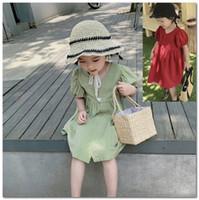 Mädchen Sommerkleider 2020 Kinder Einreiher Kurzarmkleid Kinder verlieren bequem Prinzessin Kleid rot grün C6063
