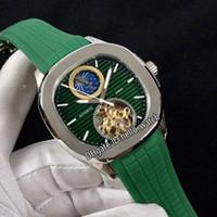 New Sport Green Dial Fase de luna automática TOURBILLON MENS Reloj de acero Caja de goma verde Relojes de alta calidad 10 Color Hello_Watch