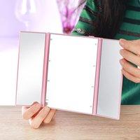 HOT LED bilden Spiegel faltbar im Batterie mini faltbare tragbare Falten kompakte Kosmetik mit LED-Licht Kleinverpackung