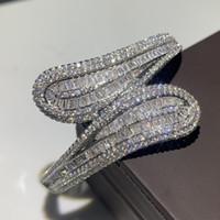 Chanceux Bracelet Shinning Top Vente New Deluxe Bijoux 925 Sterling Argent Remplir T Forme Topaze Blanche CZ Diamant De Mariage Braclet Pour Les Femmes Cadeau