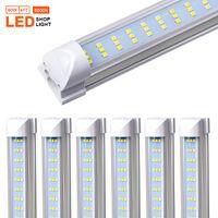 4-25PCS T8 LED Light Shop Fixture, 4ft 60W, lentille claire couverture, Appartement trois rangées lampe de l'ampoule intégrée, LED Cooler Light porte, Plug and Play