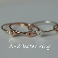 Letter Rings Silver Band Ring Hot Sale Heart Finger Rings Fo...