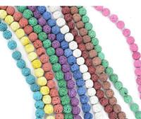 46 pz / lotto 8mm Multi Colore Lava Beads Pietra Naturale Roccia Vulcanica Rotonda Branelli Allentati Gioielli FAI DA TE Braccialetto Fare Vulcano Pietra Bead