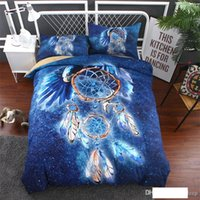 3d duvet cover king size blue Dreamcatcher bedding set Pillo...