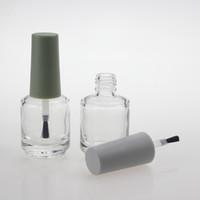 15ml 200 stks / partij Lege glazen nagellakfles met gekleurde plastic hoes en balck borstel, levering ronde glazen gel fles