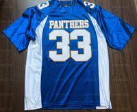 Tim Thign # 33 Friday Light Lights Paanthers Movie Men Football Jersey All Stitched Blue S-3XL جودة عالية شحن مجاني
