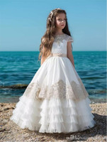 Cute Little Flower Girl Dress Una linea di pavimento Lunghezza fatta a mano per la danza di nozze Fiori perline perline Bambini Prom Birthday Dress Cheap Girls