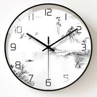 Chinese Style Art Wall Clock Modern Silent Simple Kitchen Wall Clocks Glass Quartz Reloj De Pared Led Home Decoration SS50WC