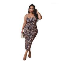 Backless Casual Gevşek Tasarımcı Giysi Spagetti Kayışı Bayanlar Elbiseler Kadınlar Için Seksi Artı Boyutu Elbise Kadın Leopar