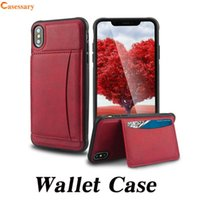 Premium Leather Wallet Cases With Card Holder Kickstand Feat...