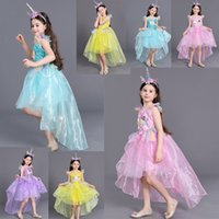 Girls Unicorn princess gown dress 2pc set one- horned hair cl...