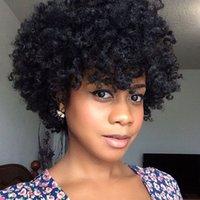 Kısa Sentetik Saç Peruk İçin Siyah Kadınlar Çıkma Curl Saç Peruk Sigara Remy Afro Kabarık Yok Dantel Peruk 6inch