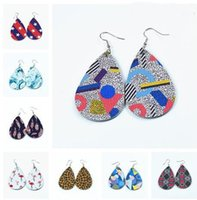 Trasporto libero 19Colors bandierina Graffiti Teardrop Leather Earrings Faux Leather Water Drop Earring BOHO