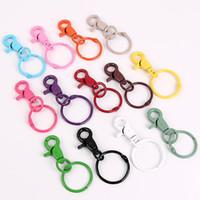 26pcs / lot 35 mm Cadenas de dibujos animados colorido llavero del anillo partido de los anillos dominantes de bricolaje artesanal clave Accesorios 13 colores
