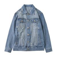 남성 재킷 패션 Casaul는 블루 홀 단색 씻어 데님 레트로 자켓 하이 스트리트 스트리트 M-XXL 찢어진