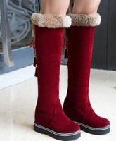 Новое прибытие горячие продажа спец супер мода приток Мартин плюс бархат хлопок женский замша увеличение платформы высокие ботинки снега EU33-43