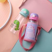 DHL شحن 700ML البلاستيك زجاجة المياه المحمولة مع الأغطية الكرتون تصميم الديناصور الإبداعية للأطفال الأطفال الكبار للجنسين غلايات FY4125