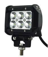 Venta caliente del envío gratis 4 pulgadas 18W Cree LED barra de luz de trabajo lámpara 4WD camión SUV ATV Spot Flood 12v 24v para motocicleta Tractor barco Off Road