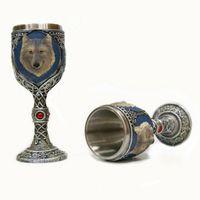 Cóctel más fresco gótico Acero Resina dragón 3D cráneo cáliz retro garra copa de vino vasos de whisky Copa de la barra del partido Vasos