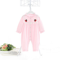 INS الطفل بنات ملابس رومبير القطن بنسبة 100٪ حامل الياقة الصلبة الأبيض الوردي رومبير ربيع خريف ثوب فضفاض بوتيك 0-2T