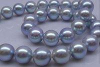 Collier de perles rondes gris et argenté naturel de la mer du Sud de 11 à 12 mm