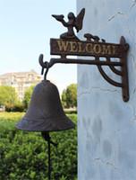 Fundición de hierro que cuelga de decoración de interior retro Ángel Bienvenido campana de la cena Campanas de montaje en pared Home Cottage Village decoración de jardín de niños