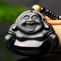 Apertura de hombres y mujeres modelos grandes obsidiana natural jade miller Buda colgante ventas directas de fábrica