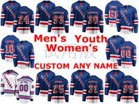 New York Rangers Jerseys Kaapo Kakko Jersey Mika Zibanejad Rick Nash Henrik Lundqvist Artemi Panarin Blue Blanc Blanc Jerseys de hockey sur glace cousu
