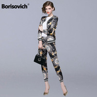 Borisovich 2 Piece Set Women Casual Suits New  2018 Autumn Fashion Vintage Print Female Jackets And Ankle-length Pants N133