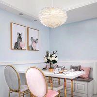 현대 노르딕 화이트 깃털 라운드 펜던트 조명 E27 장식 다이닝 룸 침실 거실 홈 조명 램프