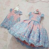 Säuglingsspitze Perle formale Abend Hochzeit Tutu Prinzessin Baby-Kleid-Blumen-Mädchen-Kind-Kleidungs-Kind-Party für Mädchen ClothesMX190926