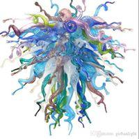 اليد في مهب زجاج الثريا الحديثة بالطلب الإبداعية زجاج مورانو قلادة مصابيح ديكور المنزل فن الزجاج LED الثريا