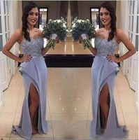 2020 элегантные платья подружки невесты русалки возлюбленные кружева аппликация эластичный сатин Wedidng гостевые платья боковая сплит горничная честь платья