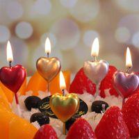 심장은 하루 케이크 장식 파티 생일 케이크 촛불 디저트 황금 작은 촛불 촛불 발렌타인 모양
