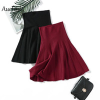 Aucfzid Spring High Waist Skirt Women Knitted Pleated Elasti...