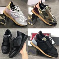 Kutu Boyutu 46 ile Yeni Renkler Rockrunner Sneakers Erkek Kadın Gerçek Deri Düz Eğitmenler Tasarımcı Kamuflaj Dantel-up Platformu Nedensel Ayakkabı