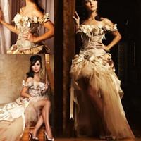 Champagne Hi-Lo Vestidos de Noiva 2019 Princesa Lace Flor Handmade Victorian Nupcial Vestidos para 16 Anos Quinceanera Bola Vestidos