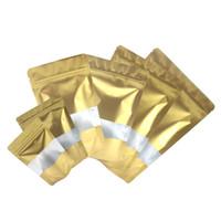Karışık Boyut Mat Altın ile Şeffaf Dikdörtgen Pencere Ön Gümüş İçinde Altın Arka Folyo Mylar Gözyaşı Notch ile Zip Kilit Çanta Stand Up