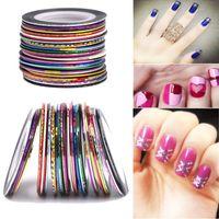 100 rolos de unhas fita de decalque linhas de decalque da folha definir cor misturada adesivo prego adesivos nail art dicas decorações diy styling ferramentas