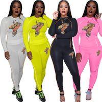 패널로 T 셔츠 바지 정장 여성 스포츠를 인쇄 두 조각 세트 여성 캐주얼 운동복 가을 패션 높은 칼라에 맞게 4 공동 조깅 정장