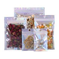 200pcs / pack Laser Holographic auto Joint adhésif Enveloppes sac en plastique Mailing Sacs de stockage Snack cadeau Nuts Paquet Zip verrouillage Pack Bag e3203