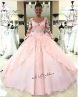 Doce 16 Dresses Alargamento manga comprida Lace vestido de baile Vestidos Quinceanera 2020 Vestido de Debutante Para 15 Anos rosa até o chão Prom Dress