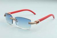 2020 새로운 선글라스 전체 다이아몬드 개인화 된 안경 T3524012-20 럭셔리 무한 선글라스 붉은 나무 다리 무기 다이아몬드 프레임