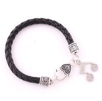 Huilin bijoux vente chaude accessoires de mode belle fille notes de musique pendentif en cuir bracelet en cristal