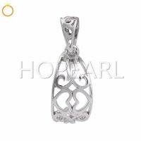 Hollow Curved 925 Sterling Silver Filigree Pendants with peg...