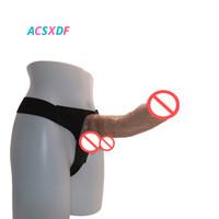 ACSXDF consoladores grandes Strapon enorme consolador correa de suave realista del pene ventosa arnés Pantalones de cuero juguete del sexo para las mujeres lesbianas