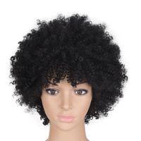 Hochtemperatur-Kunststoff schwarz Afro-Perücken verworrene lockige natürliche schwarze Farbe kurzer synthetisches Amerika Perücke Durchschnittliche Größe