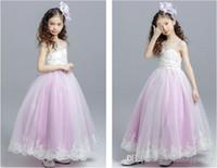 Lovely Pink A-line Flower Girls Vestidos Apliques Tul con cuentas Niños Vestidos de fiesta de cumpleaños Vestidos Filles Fleur para la boda